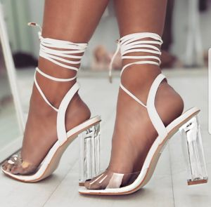 Rose White Leather Lace-Up Perspex Heels